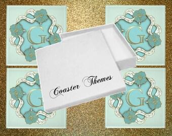 Boxed Set of 4 Monogram Glass Coasters