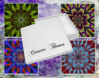 Boxed Set of 4 Abstract Glass Coasters (Set1)