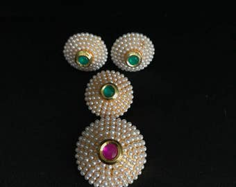 Indian Moti Pearl Pendant Set - Indian Jewelry - Indian Pendant Set - Ruby Green Moti Pearl - South Indian Jewelry - Kundan Jewelry - Desi -