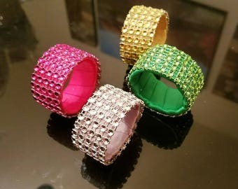 Rhinestone Napkin Rings (set of 6), Wedding Napkin Rings