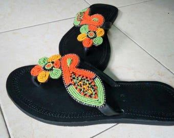 maasai sandals,Handmade sandals,beaded sandals