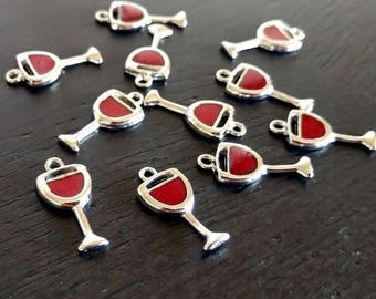 6 Wine Charms | Red Wine | Wine Glass Markers | Wine Glass Charms | Got Wine | Wine Lover | Bulk Charms | Ready to Ship USA | EN423-6