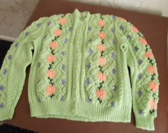"""Pale Green Cardigan with flower embroidery and sequins, size 36"""" hand knitted"""