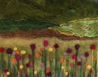 Needle felted landscape. Textile Art. Fibre Art.