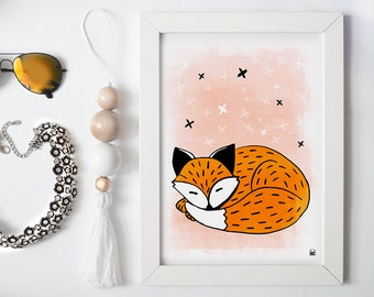 sleeping fox print, kids poster, nursery wall decor, kids print, orange red print for children print with animal animals for kids, baby room
