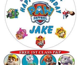 Paw Patrol birthday cake top icing sheet 15cm 18cm or 20cm white with 8 cupcake toppers