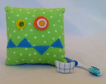 Monster Tooth Fairy Pillow - green dots, blue teeth, royal blue back