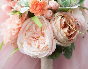 Peach Bouquet, Wedding Bouquet, Silk Bridal Bouquet, Wedding Flowers, Bridal Bouquet, Blush Bouquet, Pastel Flowers, Bride Bouquet, Faux