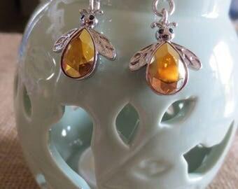 Really cute Bee Topaz crystal Dangle Earrings