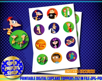 Phineas and Ferb  Printable Party Cupcake Toppers , Custom Party, Phineas and Ferb,Birthday, kit , Pack,custom