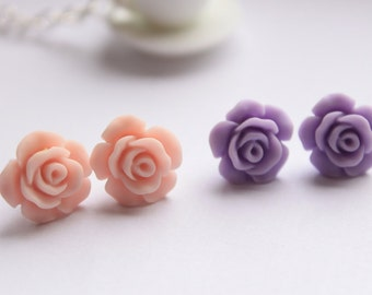 Pretty matte resin rose earrings - available in 8 colours