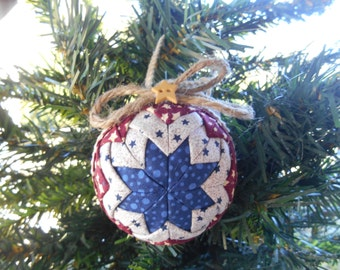 Patriotic Americana Ornament Red, White, and Blue Christmas Ornament Handmade Quilted Ornament Quilted Christmas Ornament