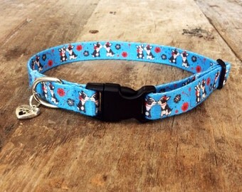 Blue puppy collar (kissing french bulldog/kissing boston terrier) (5/8'')