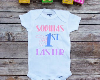 1st Easter onesie, Personalized Easter onesie, Custom Easter shirt, baby girl, Bunny onesie, My first Easter onesie, Happy Easter onesie