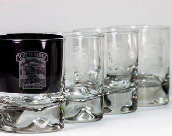 Vintage Barware - Vintage Whiskey Tumblers - Vintage CUTTY SARK Scots Whiskey Pinched  Glass -Two Sided Etched Glass Rare Hollywood Version