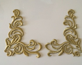 Applique embroidered color gold