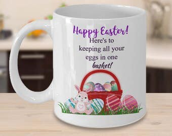 Easter gift ideas etsy unique easter coffee mug gift easter basket mug with easter eggs cute easter gifts negle Choice Image