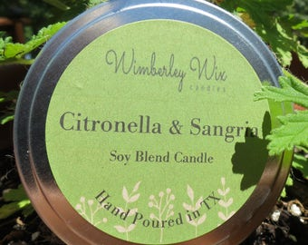 Citronella and Sangria//8 oz soy wax container candle//cotton wick, dye and phthalate free