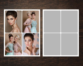 Photo Collage Template 8,5 x 11 #2, 4 photo, Storyboard Template, Photographer Template, PSD template