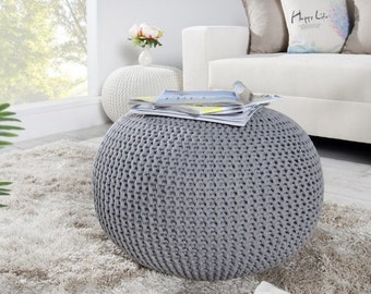 Bean bag, gray, Pouf, footrest ball Knit, Crochet Pouf Poof, Ottoman, Footstool, Pillow, Floor cushion Floor Puff, knitted, 50cm