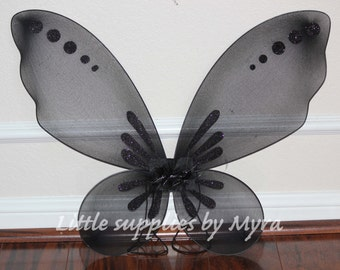 Black pixie wings, Maleficent birthday party favors inspired