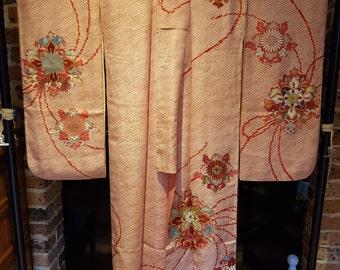 Shoken Silk Furisode Kimono - Red Shibori Dyed with Embrodiories
