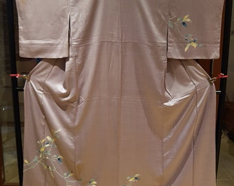 Shoken Silk Homongi Kimono - Tree Branches on Purple