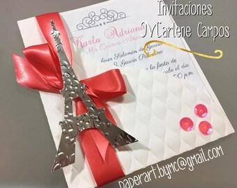 Paris Invitation, Eiffel Tower Invitation, Sweet 16 invitation, Quinceanera Invitations, Sweet sixteen invitation, Wedding Invitation