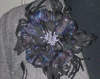 "Brooch-Pendant ""Blue flower"" Genuine leather"