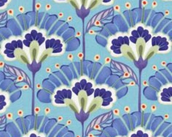 Kate Spain Good Fortune Lantern Flowers in Blue Fat Quarter