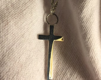 "One-of-a-kind handmade Sterling silver crucifix and 16"" chain"