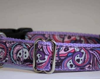 "Purple Swirls and Hearts adjustable dog collar - 1"" wide"