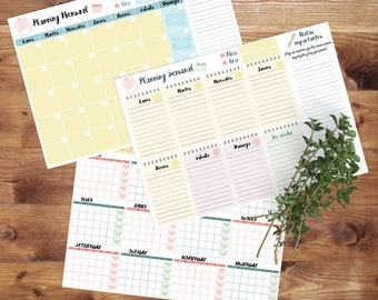 Pack of downloadable planning weekly + monthly + yearly to print