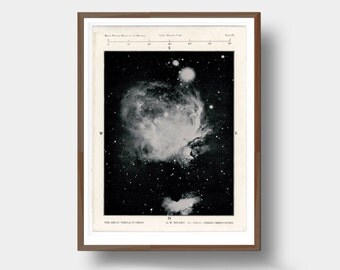 Vintage Orion Nebula Galaxy Print Astronomy Space Illustration Science Wall Art