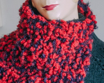 Chic Boucle Cowl, Red and Purple Cowl Hood, Snood