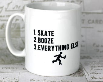 Roller derby skater mug, great gift for your derby wife or for your derby widower, personalise it to show your priorities.