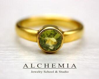 st GREEN PERIDOT Gold 14K Ring  Gemstone Statement Anniversary Wedding Engagement  Promise  AlchemiaSchoolStudio