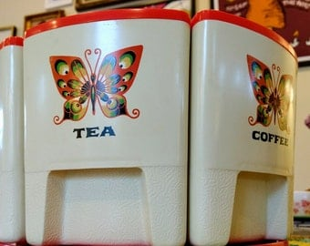 Retro Orange and Cream Butterflies Sterilite Canister Set with Working Lazy Susan - Vintage Kitchenware - 1970s