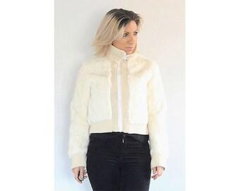 Vintage 1990s white rabbit fur knitted bomber jacket