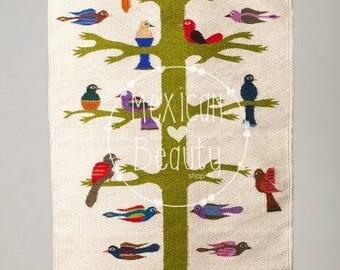 Mexican Handwoven wool rug from Oaxaca