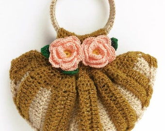 Crochet Cellphone Bag. Wonderful Combination of Two Colors, Gold and Topaz with Beautiful Crochet Flowers. Cellphone Mini Purse.
