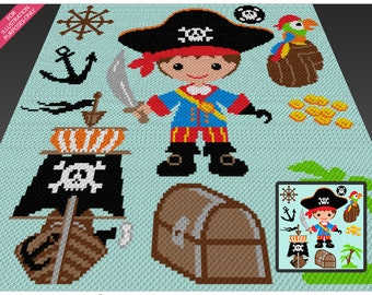 Pirate Boy  crochet blanket pattern; c2c, cross stitch; knitting; graph; pdf download; no written counts or row-by-row instructions