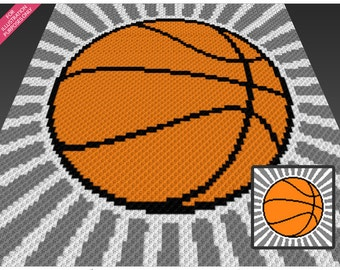 Basketball crochet blanket pattern; c2c, cross stitch; knitting; graph; pdf download; no written counts or row-by-row instructions