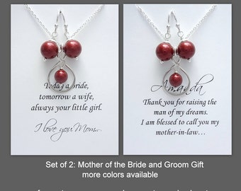 Wine Red Pearl Necklace and Earring Set, Mother In Law Gift, Mother of the Groom Gift Necklace, Mother of the Bride Gift, Gift for Mom