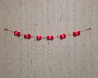 Red & Pink Puffball Wall Decoration