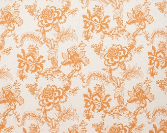 Linen Fabric By the yard Blossom Tangerine on Ivory