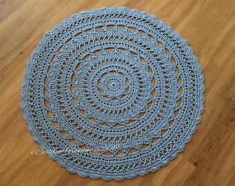 Round Doily crochet throw/floor handmade Rug, Nursery gift, 100%cotton made to Order