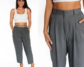 "Grey High Waisted Pleated Trouser Pants 26"" 27"" Waist S/M"