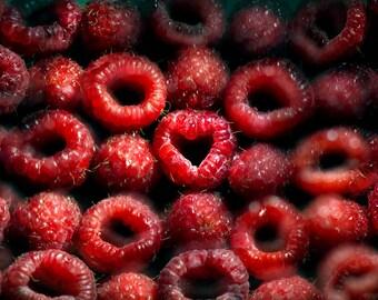 Romantic Raspberries, Love, Light Painting, Red, Valentine's Day, Fine Art Print, Home Decor