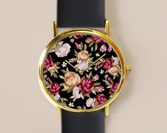 Floral Watch , Floral Jewelry , Vintage Style Leather Watch, Women Watches, Roses , Gift for her, Floral Print, Watches, Gift